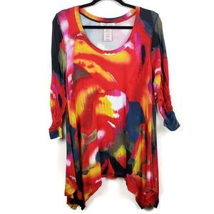 Philosophy Watercolor Abstract Shark Bite Tunic L